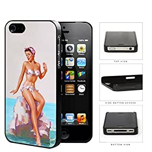 Pin Up Model Sitting On Rock Pose Hard Plastic Snap On Cell Phone Case Apple iPhone 4 4s