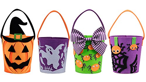 KI Store Halloween Buckets Candy Baskets Bags for Trick or Treat Felt Totes Gift Bags for Kids Girls Boys 6.7