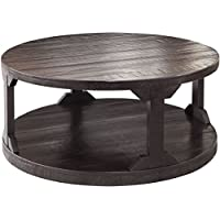 Ashley Rogness Round Cocktail Table in Rustic Brown