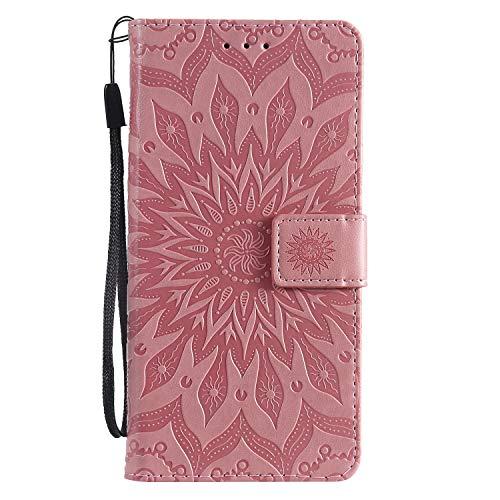 Moto G7 / G7 Plus Case, Lomogo Leather Wallet Case with Kickstand Card Holder Shockproof Flip Case Cover for Motorola Moto G7 / G7Plus - LOKTU020097 Pink
