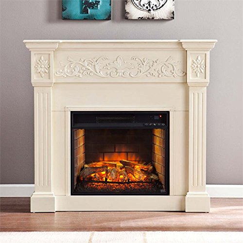 Southern Enterprises Calvert Carved Electric Fireplace in - Fireplace Carved Electric