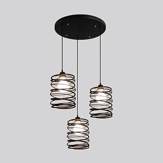 NIUYAO Lámpara de techo Forma Cilíndrico Jaula Metal Cable ...