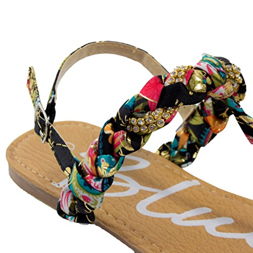 Open Toe Womens Blue Sandy Sandals Black Slingback Gold H Pizza Pizza Jeweled UfqIOw