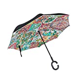 senya Double Layer Inverted Umbrellas Colorful Bohemian Retro Floral Pattern Folding Umbrella Windproof UV Protection for Car Use Rain Outdoor With C-Shaped Handle