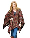 Women's 100% Alpaca Hand Made Poncho Ruana Shawl ''Julia''