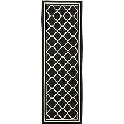 Safavieh Courtyard Collection CY6918-226 Black and Beige Indoor/ Outdoor Runner (2\'3\