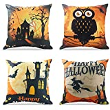 WEYON Happy Halloween Throw Pillow Covers 18 x 18 Inch Owl/Bat/Witch/Castle Theme Sofa Home Decorative Cotton Linen Cushion Covers Set of 4