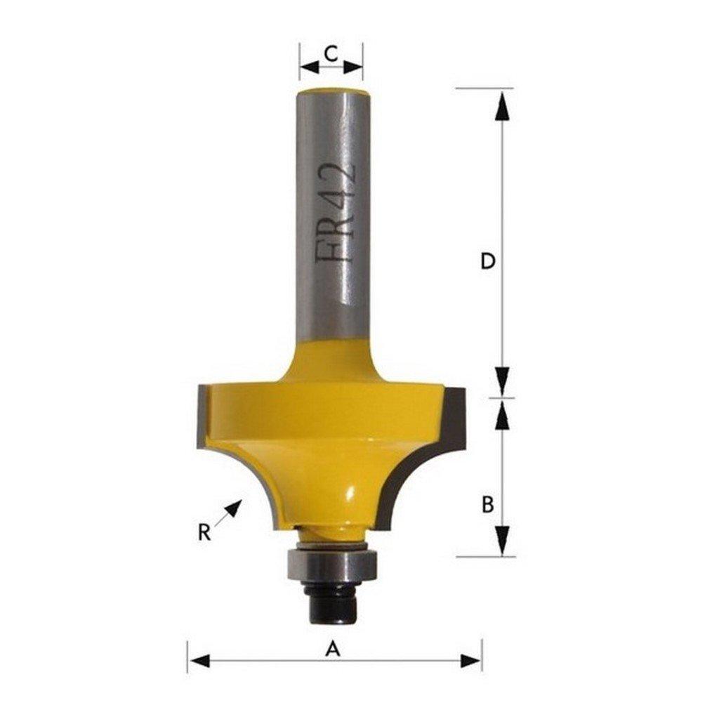Kivec FR35-6 - Fresa có ncava 22, 2x12, 7 mm de metal duro para madera mango de 6x36, 3 mm radio 4, 8 mm