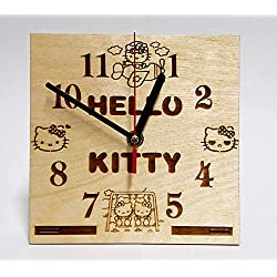 CAKE TOPPERS COMPANY Hello Kitty Character Handmade Wooden Desk Clock Handcrafted 6.7 inches / 17cm Made from Wood Best Decor for Your Kids Bedroom Gift for Kids Hello Kitty Table Clock