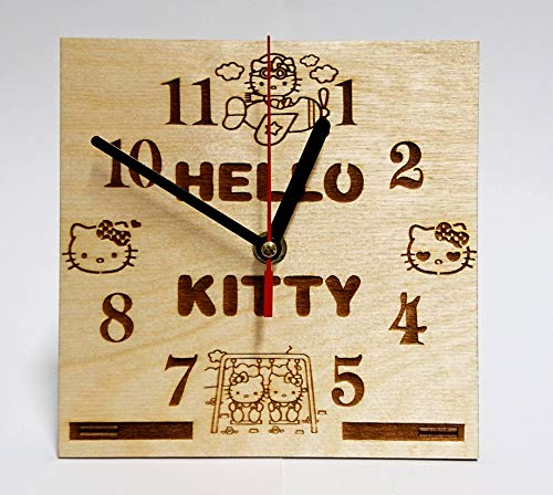CAKE TOPPERS COMPANY Hello Kitty Character Handmade Wooden Desk Clock Handcrafted 6.7 inches / 17cm Made from Wood Best Decor for Your Kids Bedroom Gift for Kids Hello Kitty Table Clock -