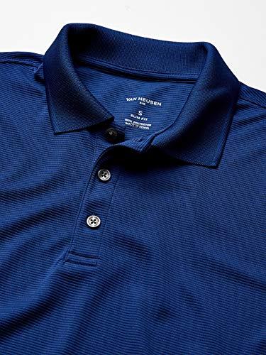 Van Heusen Men's Slim Fit Short Sleeve Air Performance Ottoman Stripe Polo Shirt