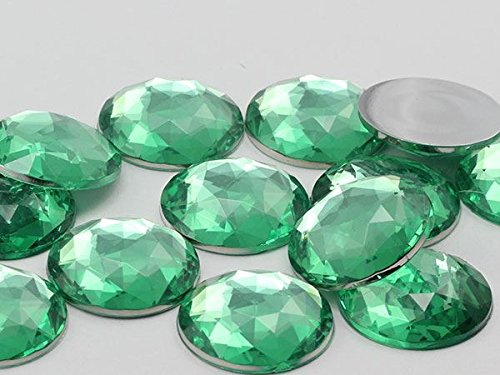 Allstarco 20mm Flat Back Round Acrylic Gems Pro Grade - 20 Pieces (Green Peridot H110)