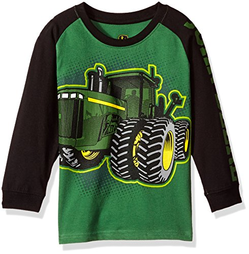 John Deere Little Boys' Long Sleeve Raglan Tee, Green Tractor, 6 (Green Tractor Little)