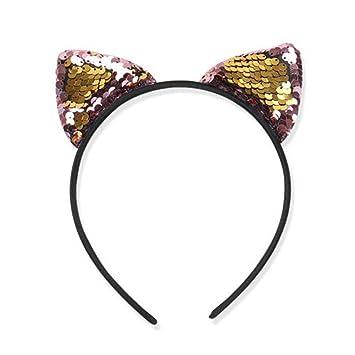 Wansan Glitter Cat Ears Headbands Shiny Sequin Hair Hoops Cute Hairband for Women Girls Daily Wearing