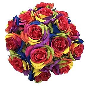 DALAMODA Artificial Roses Flowers-15PCS Rianbow 3