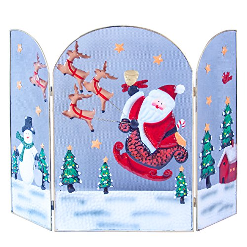 Decorated Snowman (The Christmas Workshop 63 cm Santa and Sleigh with Snowman Decorated Fire Guard Surround by The Christmas Workshop)