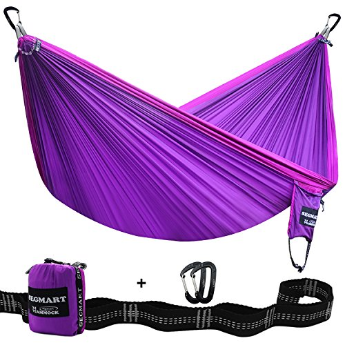 Segmart Camping Hammock with Straps and Carabiners,  Violet / Lilac, Coupled XL