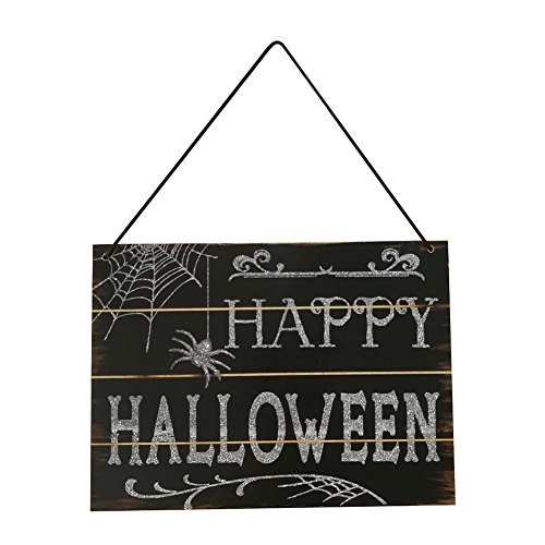 lightclub Happy Halloween Spider Wooden Hanging Door Wall Plaque Sign Decoration for Home Party Halloween -