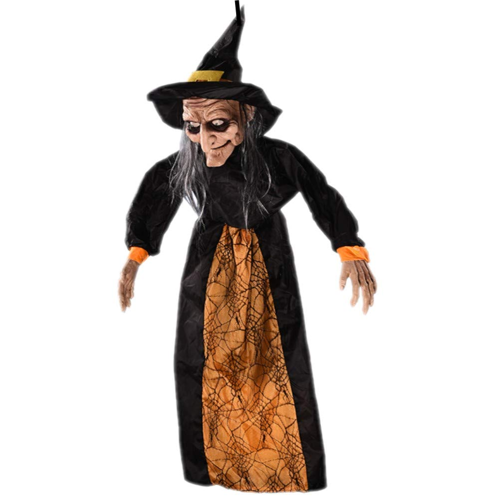 XONOR 57''/145cm Hanging Animated Talking Witch Skeleton Ghost Halloween Decoration with Glowing Red Eyes