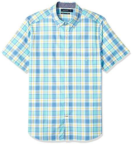Nautica Men's Classic Fit Short Sleeve Stretch Plaid Button Down Shirt, Poolside Aqua, XX-Large