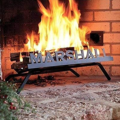 Personalized Fireplace Grate (Copperplate Font) - Custom, Heavy Duty Steel Grille with Fire Retardant Black Finish - Handcrafted in America with 100% Recyclable Material
