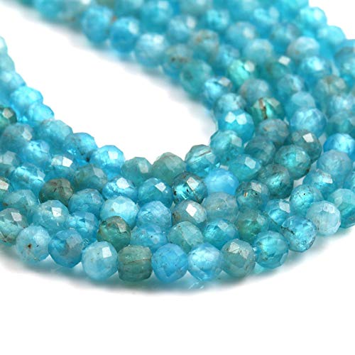 Natural Stone Beads Apatite Gemstone Faceted Loose Beads for Jewelry Making Earrings Ring 2 Strand 15