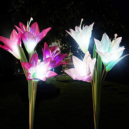 Dapai Solar Flowers Garden Light, LED Garden Decorations Light Outdoor Solar Powered Yard Art Waterproof Color Changing Lily Flowers for Garden Yard Patio Decorations (2 Pack)