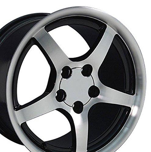 18 Inch Corvette C5 Wheel - OE Wheels 18 Inch Fits Chevy Camaro Corvette Pontiac Firebird C5 Deep Dish Style CV05 Gloss Black Machined 18x9.5 Rim Hollander 5122