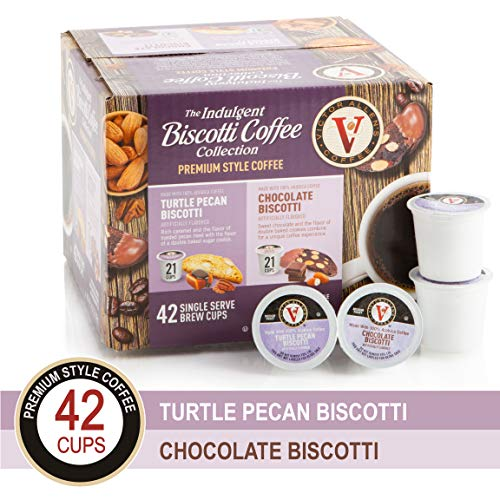 Biscotti Collection Variety Pack with Turtle Pecan & Chocolate Biscotti for K-Cup Keurig 2.0 Brewers, 42 Count, Victor Allen's Coffee Single Serve Coffee Pods