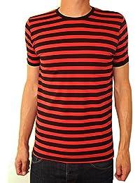 Mens Striped Tee Mod Indie Tshirt Red & Black Stripes