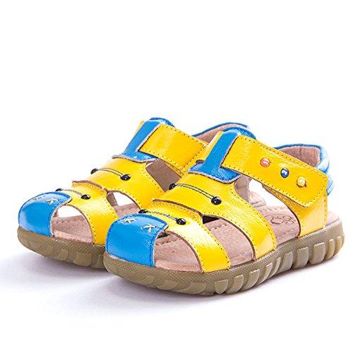 Eagsouni® Kinder Rutschfeste Geschlossene Sandalen aus weichem Leder Outdoor Trekkingsandalen Klettverschluss Lauflernschuhe Gelb