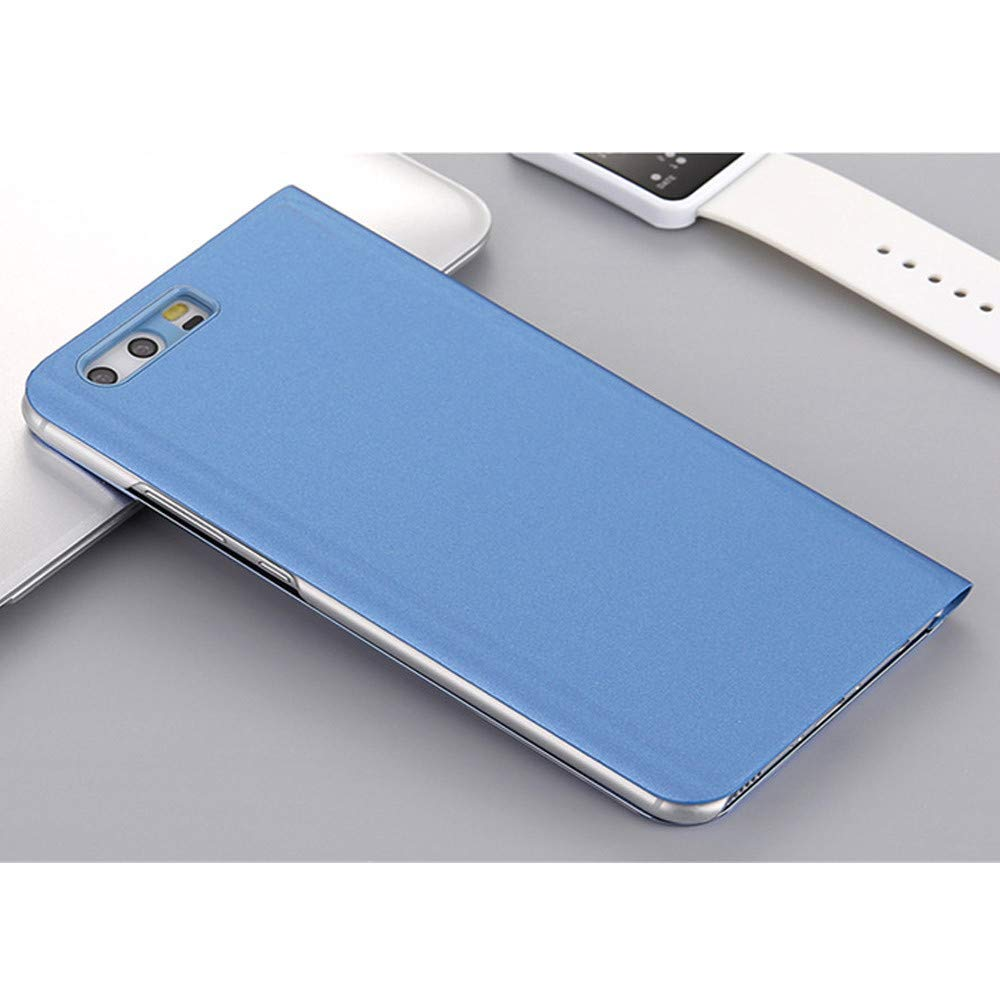 Premium PU Leather Flip Case Hard PC Back Cover Luxury Clear View Design Protective Shell with Stand Function for Huawei P10 Mistars Mirror Case for Huawei P10 Gold