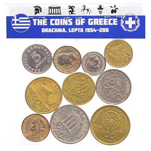 10 Mixed Lot Greece Greek Coins Pre-Euro 1954-2002 Drachma Lepta. Perfect Choice for Your Coin Bank, Coin Holders and Coin Album