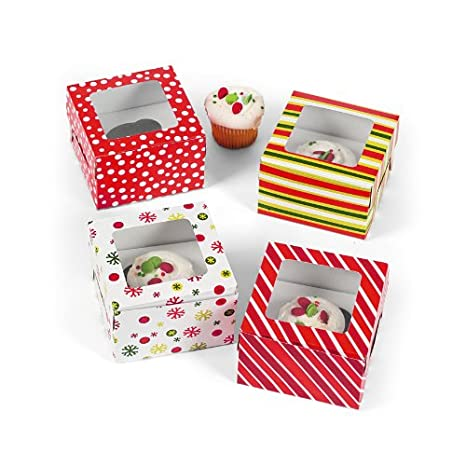 Bright Christmas Cupcake Boxes 12 pack