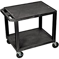 Offex 26 Tuffy AV Cart with 2 Shelf, Putty Legs & Electric 4 Heavy Duty Casters, Black (OF-WT26E)