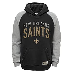 more photos b7b08 a7f81 Outerstuff NFL New Orleans Saints Boys Foundation Hoodie, Black, Small (8)
