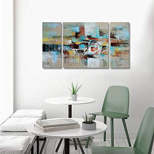 Abstract Wall Art Large 100% Hand Painted Contemporary Oil Painting 3 Piece Gallery-Wrapped Pictures Framed Ready to Hang for Home Decorations