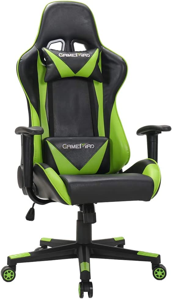 LasVillas Ergonomic High Back PU Leather Office Chair Gaming Chair Racing Chair with Adjustable Height Green