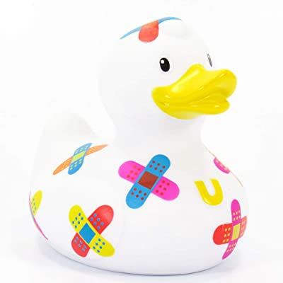 "Outchie (Band Aid) Rubber Duck Bath Toy by Bud Duck | Elegant Gift Packaging ""Get well soon!, outchie will patch you up! 