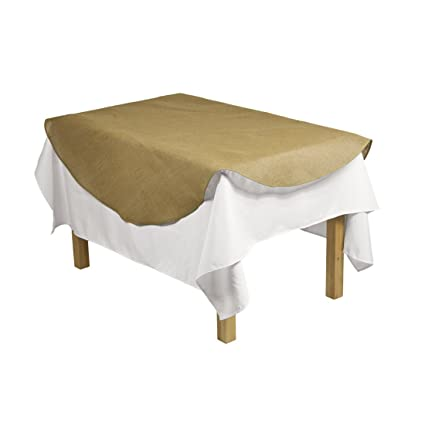 LinenTablecloth Round Burlap Table Overlay, 60 Inch