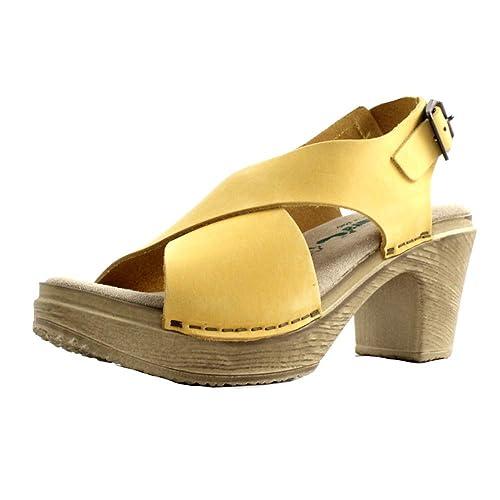 acheter populaire a7075 e2368 Bionatura Sandales d'été pour Femme en Cuir Nubuck Jaune ...