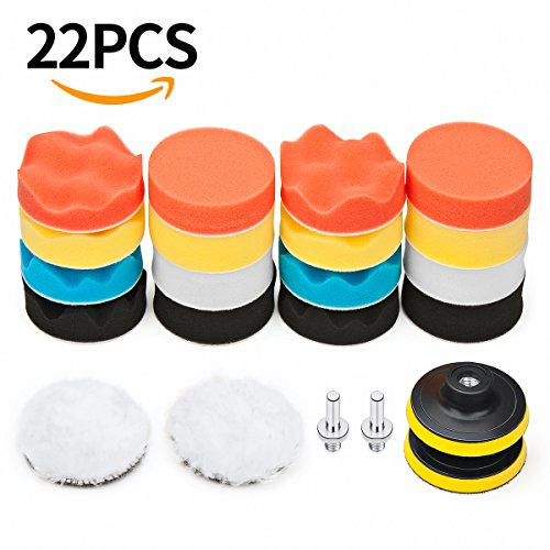 Car Foam Drill Polishing Pad Kit 22 PCS, 3 Inch Buffing Pads (22 Glass Orange)