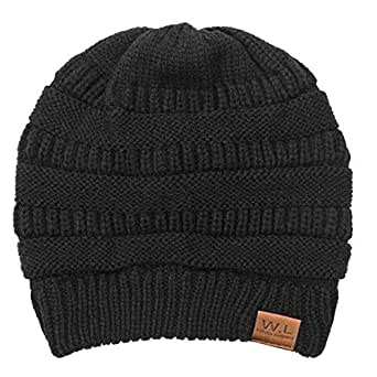 Beanie Hat for Men and Women Lining CC Beanies Winter Warm Hats Knit Slouchy Thick Skull Cap