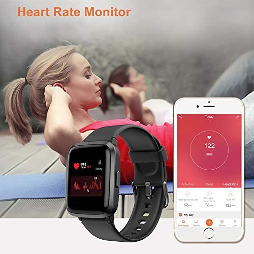 YAMAY Smart Watch 2020 Ver. Watches for Men Women Fitness Tracker Blood Pressure Monitor Blood Oxygen Meter Heart Rate Monitor IP68 Waterproof, Smartwatch Compatible with iPhone Samsung Android Phones 51mBuyivw L