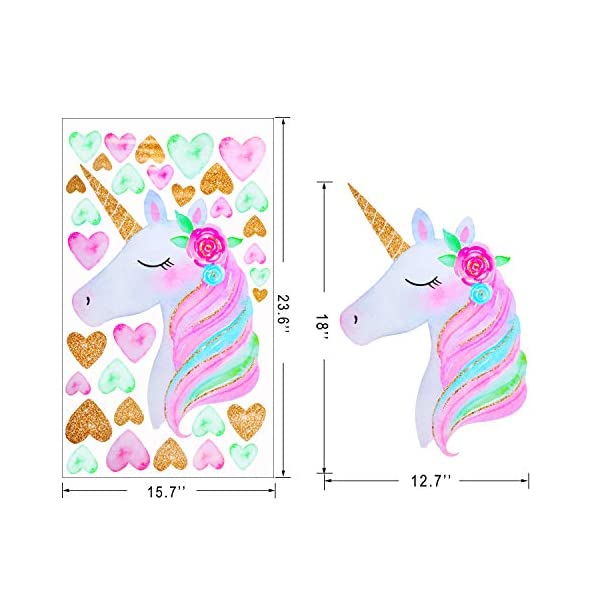2 Pieces Large Size Unicorn Wall Decal Unicorn Decor Unicorn Wall Stickers Colorful with Heart Flower for Kids Bedroom, Nursery Room, Living Room Decor 4