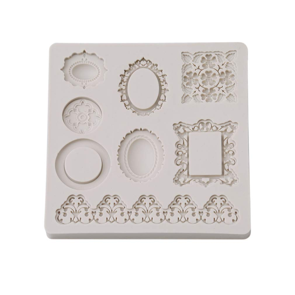 HENGSONG Silicone Lace Fondant Embossing Mat Cake DIY Moulds Candy Decoration Mould Cake Decorating Molds Without Butterfly Grey Mei_mei9 UK999460065MJ