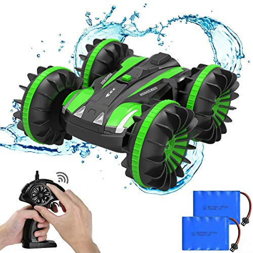 Ratoys Waterproof RC Cars 4WD, Remote Control Car Boat Truck 2.4Ghz Double Sided Amphibious Vehicles Toys for Kids, Green