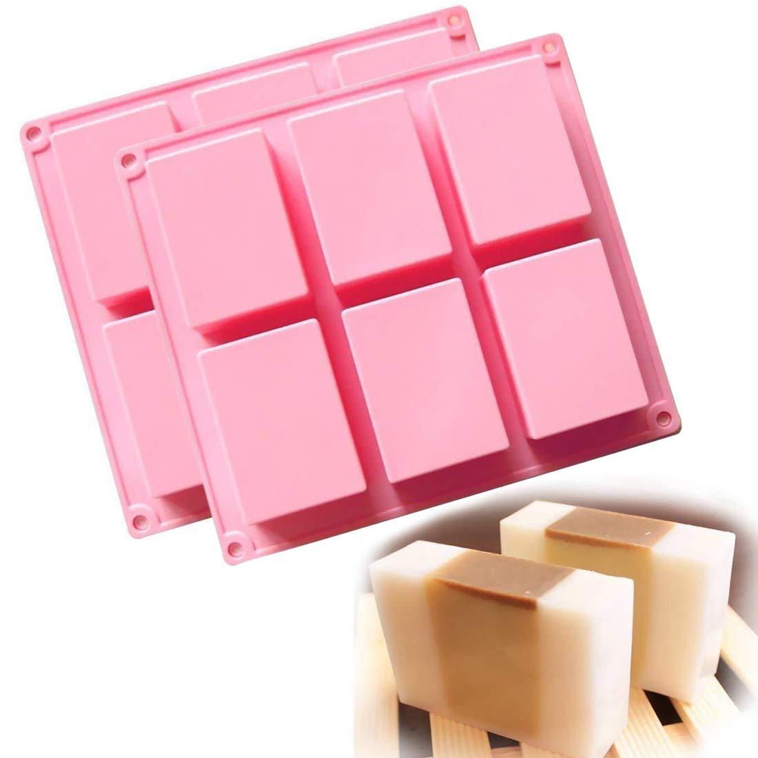 (2 unidades) 6 de la cavidad rectangular de silicona molde para Casera Artesanía jabón molde, molde de tarta, para galletas Chocolate molde cubito de hielo, ...