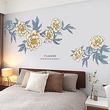 Aha Yo-Retro Tuschemalerei Blume Wandaufkleber Schlafzimmer ...