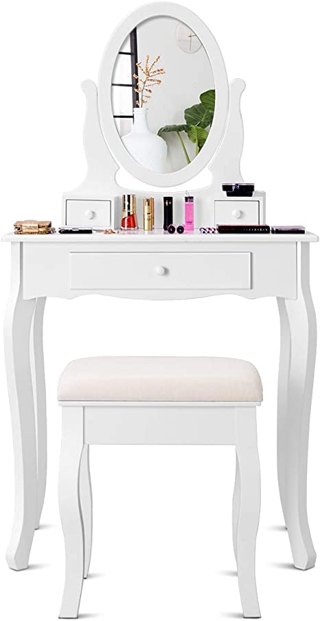 Giantex Vanity Table Set 3 Drawers With Mirror Cushioned Bench Bathroom Bedroom Wood Room Vanities Removable Top Dual Use Jewelry Makeup Dresser Desk Dressing Tables W Stool White Kitchen Dining